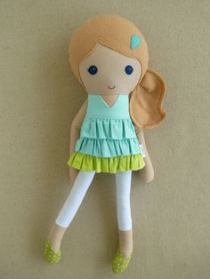 Fabric Doll Rag Doll Blond Haired Girl in Aqua Blue and Green Ruffled Dress and White Leggings