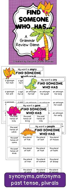 $ - great grammar review and practice; synonyms, antonyms, plurals and past tense