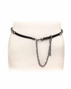 Black Leather Stone Studded Skinny Zig Zag Belt with Chain $21.00