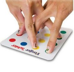 finger twister...what a hoot...one of those things you like to do with your kids while they wait somewhere....could make it yourself with a sheet of paper and colored dot stickers...