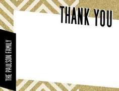 Zigzag Glitz - Flat #Holiday Thank You Cards by Petite Alma for Tiny Prints in black, white and gold chevron glimmer design.