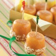 Marshmallow  hors de ouvres anyone?...Caramel Marshmallow Treats:)