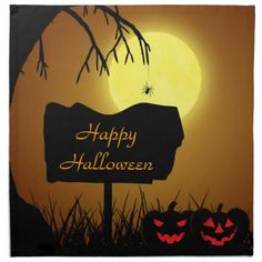 Halloween Sign with Pumpkins - Cloth Napkin