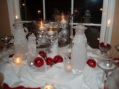 a table set for Christmas or let it snow