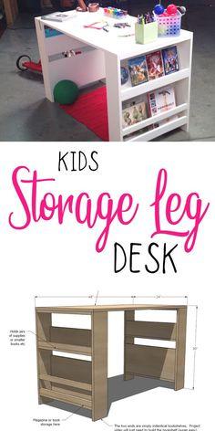 Free plans to DIY a land of nod inspired storage leg desk from ana-white.com #anawhite #anawhiteplans #diy #kids #kidsdesk #diydesk