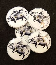 Flying Pig Sewing Buttons  5 Handmade Buttons by onthedarkerside, $9.99