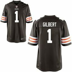 8f527bfdb Mens Nike Justin Gilbert Brown Cleveland Browns 2014 NFL Draft  1 Pick Game  Jersey