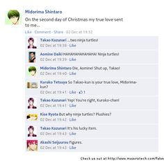 Second day of Christmas, Midorima special. Fb Memes, Funny Memes, Haikyuu, Funny Chat, Takao Kazunari, Generation Of Miracles, Text Jokes, I Believe In Love, Create Picture
