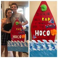 Surf Themed HOCO Proposal Surf Themed Homecoming Proposal Supplies Needed: 2 Foam Boards (one for board and one to secure the waves) 1 standard Poster Board (cut in thirds) Exacto Knife, Scissors, Hot Glue Paint, Glitter (optional) Hoco Proposals, Exacto Knife, Homecoming Proposal, Glue Painting, Promposal, Paint Markers, Print And Cut, Surfboard, Surfing