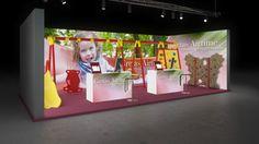 081 Spielgeräte Gretas Airtime | Farbenfroher Messestand eines Herstellers von Spielgeräten.   Der kleine Reihenstand besticht durch fotorealistische Spielplatzaufnahmen, die auf den...