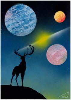 空想/幻想画「鹿と宇宙」[Hiro] | ART-Meter