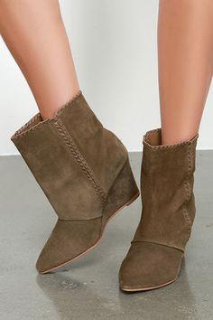 Chic Brown Booties - Suede Leather Booties - Wedge Booties - $99.00