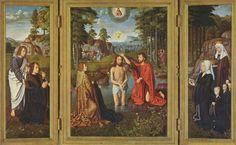 ***Gerard David, Bautismo de Cristo, h. 1505.Brujas, Museo Groeninge. En los Países Bajos Juan echa el agua a Jesucritsto con las manos.