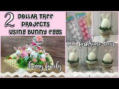 I am super excited to share these fun projects using plastic easter eggs I picked up at the dollar tree! So super easy and fun to put together. Inspiration for DIY . Plastic Easter Eggs, Easter Egg Crafts, Bunny Crafts, Dollar Tree Decor, Dollar Tree Crafts, Easter Videos, Hoppy Easter, Easter Bunny, Diy Easter Decorations