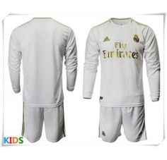 Cheap Real Madrid Home Kids Football Kit Long Sleeve (+ Short pants) Camisa Real Madrid, Equipacion Real Madrid, Real Madrid Shirt, Football Socks, Football Shirts, Real Madrid Football Kit, Kids Football Kits, Long Sleeve And Shorts, Vans Kids