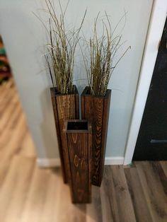 set of 3 36 rustic floor vases wooden vases home decor - Wooden Floor Vase