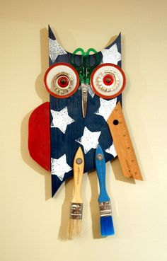 Found Object Owl wood Sculpture | Owl hanging wall art Original Found Object by Kings Bench Creations,