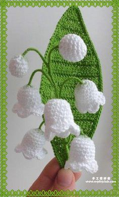 """https://s-media-cache-ak0.pinimg.com/originals/a0/19 /b9/a019b9f22e95ba707c2a4be5187b7d92.jpg how pretty """"cute crochet flowers, Lily of the valley"""", """"c"""