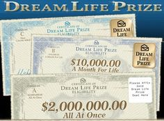I want to win the Dream Prize yes! O jose c gomez want the dream prize! Instant Win Sweepstakes, Online Sweepstakes, Cash Prize, Win Prizes, 10 Million Dollars, Win For Life, Golden Ticket, Publisher Clearing House, Winning Numbers