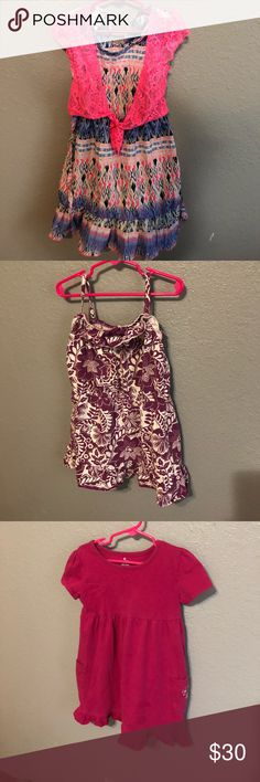 Lot of girls size 5 summer clothes Pink & blue dress size 5/6 Solid pink - Old Navy size 5T Purple & white - Old Navy size 5T/5A Red & gray sweater dress (New with tags) XS 4/5 Orange skirt - Faded Glory 5 Pink/purple/green skirt - Osh Kosh - 5T Pink shirts - Carters - 5 Checker shorts - Jumping Beans - 5 Black cotton shorts - Old Navy XS 5 Blue cotton shorts - Old Navy XS 5 Purple cotton shorts - Jumping Beans - 5 Other