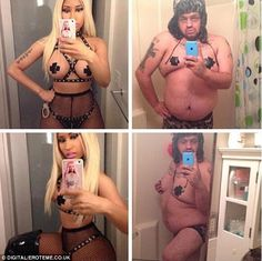 Who wore it better? A fan posted a picture of himself wearing nipple pasties in homage to Nicki's racy Halloween costume..SMH!!..hahahaah!!! =)