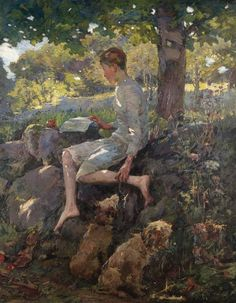 The Half Holiday, Alec home from school. Elizabeth Adela Stanhope Forbes (Canadian, 1859-1912). Oil on canvas. On a bank in a woodland glade, his dogs obediently by his side, sits a barefoot boy (the painter's son Alec), reading. Bright sunshine,...