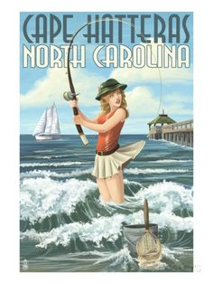Cape Hatteras, North Carolina - Surf Fishing Pinup Girl Impressão artística