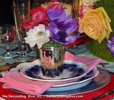 Watercolor Florals Spring Table Inspiration | The Decorating Diva, LLC