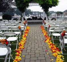 Outdoor Wedding Aisle in Yellow and Red Rose Petals by Flower Factor Sunflower Wedding Decorations, Wedding Aisle Decorations, Diy Wedding Flowers, Wedding Ideas, Wedding Sunflowers, Wedding Planning, Sunflower Party, Wedding Backdrops, Wedding Colours