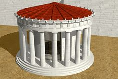 Reconstrution of the Tholos rotunda in the Temple of Athena Pronaia. This beautiful structure was clearly an important component of the temple complex. Roman Architecture, Historical Architecture, Beautiful Architecture, Round House Plans, Delphi Greece, Ancient Buildings, Fantasy Character Design, Ancient Greece, Archaeology