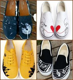 more hand painted sneakers - DIY shoes - diy - Schuhe Damen Painted Canvas Shoes, Painted Sneakers, Hand Painted Shoes, Your Shoes, Women's Shoes, Shoes Sneakers, Shoes Tennis, Sneakers Design, Canvas Sneakers