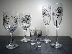 Wine Glasses Hand Painted Glassware Dandelion by PrettyMyDrink, $35.00