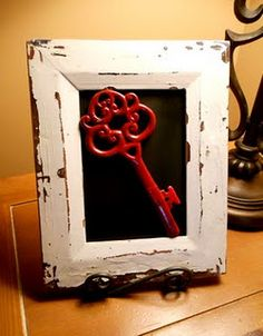 old frame + spray painted insert glass + spray painted key