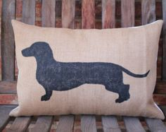"Hand Painted Burlap Daschund Pillow 12""x16"""