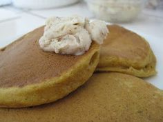 Pumpkin Pancakes with Cinnamon Butter -- a great use for your leftover pumpkin at Thanksgiving
