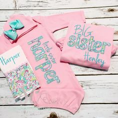 Big Little Sister Sibling Shirt Gown Set PINK by sunfirecreative