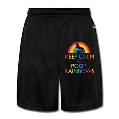 Men's Funny Keep Calm And Poop Rainbows Short Walkout Pants Black #funny #fashion #gaggift #giftidea #poop #poopemoji #tshirt #tshirts