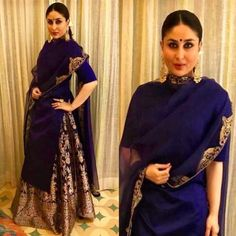 Kareena Kapoor- A Banarasi skirt with a plain kurta. The queen of Bollywood, she always amazes us with her looks. Be it her zero figure look or the to be mom look, she carries everything with style and grace. Indian Party Wear, Indian Wedding Outfits, Indian Outfits, Eid Outfits, Ethnic Outfits, Indian Gowns, Indian Attire, Indian Ethnic Wear, Pakistani Dress Design