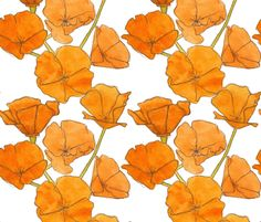 A pattern of bright orange California Poppies.  This design was drawn by hand with pen and ink and then painted with watercolor.