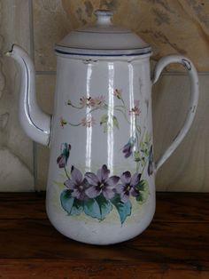 Shabby Vintage, Enamel Ware, Vintage Enamelware, Kettles, Chocolate Pots, Violets, Pansies, Mermaids, Tea Time