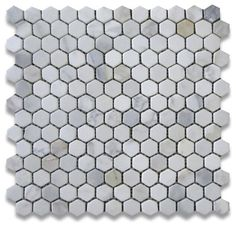 Calacatta Gold Marble Hexagon Mosaic Tile 1 inch Tumbled traditional-floor-tiles