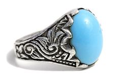 Mens Ring Porcelain Turquoise Silver Tribal Jewelry Boho Ring Vintage Rings Pocelain Jewelry Stone Rings by Tezsahcom https://www.etsy.com/listing/286086171/mens-ring-porcelain-turquoise-silver?ref=rss