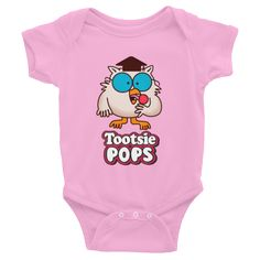 Mr. Owl Tootsie Roll Pop Infants Onesie, now your little one can have a taste of what you had as a child! This Mr. Owl Tootsie Roll Pop Vintage \ Retro Onesie makes a great gift! **Pin this for later review**