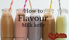 Milk kefir is a great source of vitamins and protein. It makes a wonderful quick snack when your tummy is growling, but you don't have time to sit down and eat. If your looking to find ways to get your family interested in drinking their daily glass of milk kefir, then why not try adding a bit of flavour? Flavouring milk kefir can be as easy as you want to make it and depends on the type of flavour that you are looking for.........