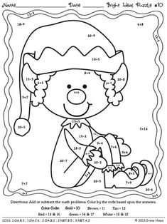 Elf Addition And Subtraction Worksheets Color By Number - Subtraction Color by Number And Worksheet For Kids Addition And Subtraction Worksheets, Math Addition, Christmas Math, Christmas Colors, Christmas Worksheets, Christmas Color By Number, Color Activities, Math Activities, Coloring Books