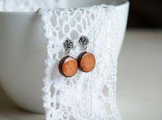 Sterling silver drop dangling earrings wooden by MyPieceOfWood