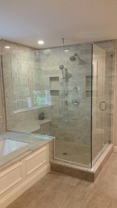Frameless Shower Door With An Inline Panel And 90° Return Panel