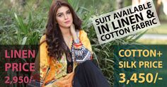 Safwa Three Piece Suits available in both Linen and Cotton. For full collection visit http://safwa.pk/