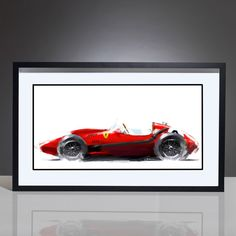 This stunning digital artwork by Mike Kim captures the Ferrari 246 which was built for the 1958 F1 World Championship.  The 246 was the first F1 car to use a V6 engine and it worked well – winning the World Championship for Mike Hawthorn and a second place in the Constructors' Championship for Ferrari.  The 1958 Ferrari was the first V6-engine car to win a Formula One Grand Prix and also the last front-engine car to win a Formula One Grand Prix!  Own this classic F1 a...