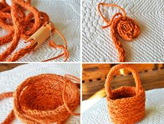 finger knit basket using knitting mushroom or similar.
